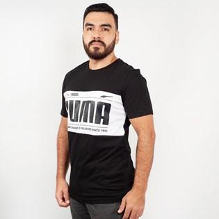 Camiseta Puma Masculina Graphic Logo Block Tee Preto Branco 57712601
