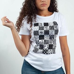 Camiseta Vans Check Mate Crew White VNBA3ULWWHT