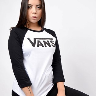Camiseta Vans Feminina Flying Raglan V White Black VN0A4N52YB2