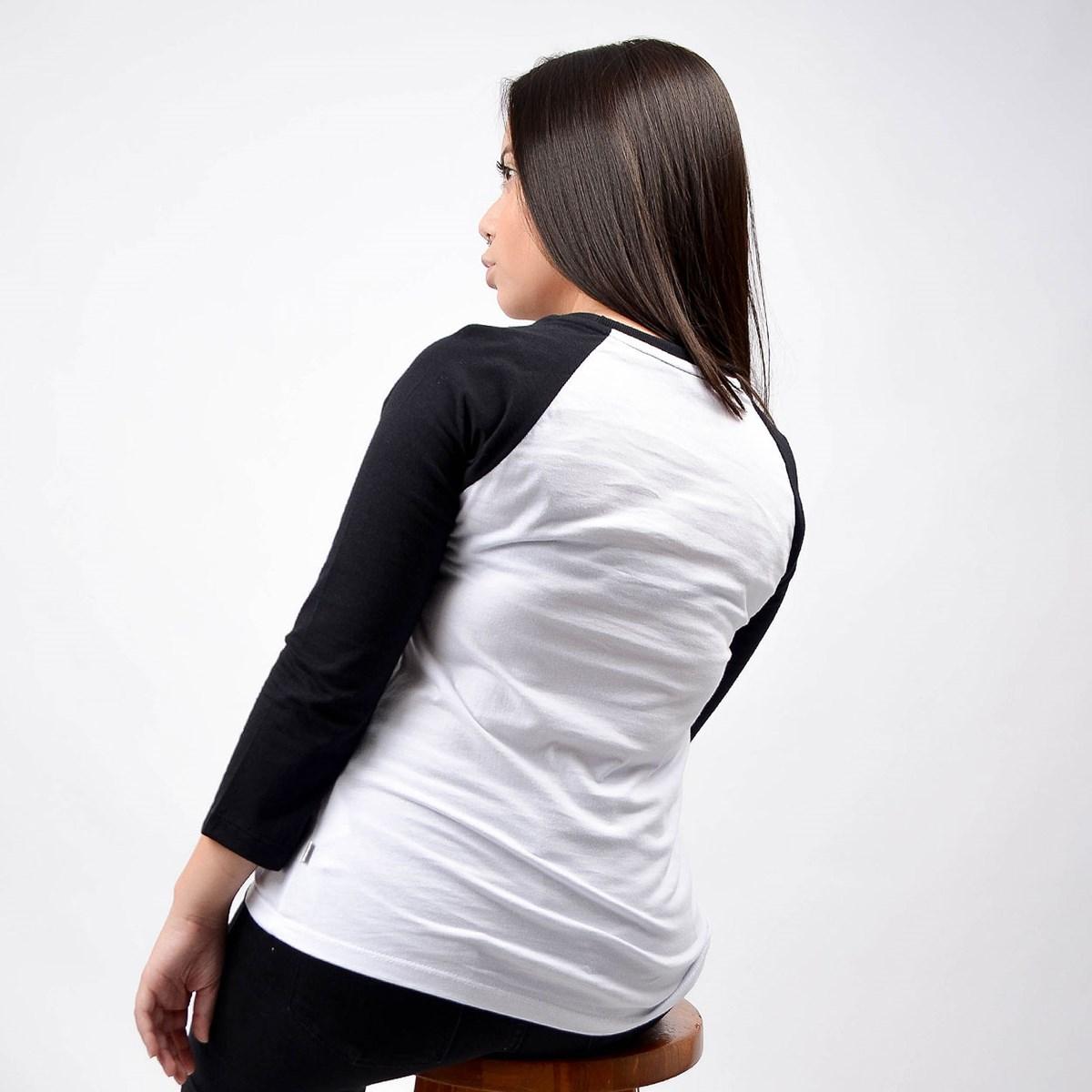 Camiseta Vans Feminina Flying Raglan V White Black VN0A4N52YB2