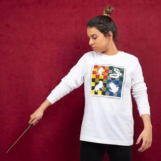 Camiseta Vans Feminina Harry Potter Hogwarts LS Bf White VN0A47UGUXG