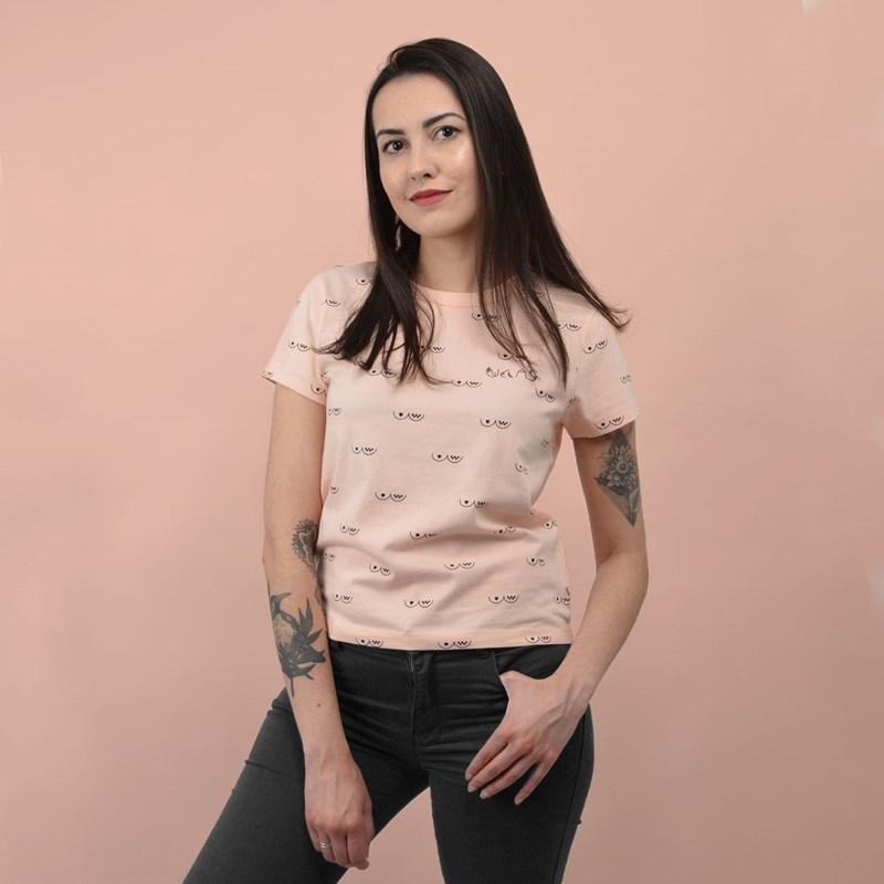Camiseta Vans Feminina Manga Curta Breast Cancer Embroidery Baby Tee Nude Check VN0A4MCAZTQ