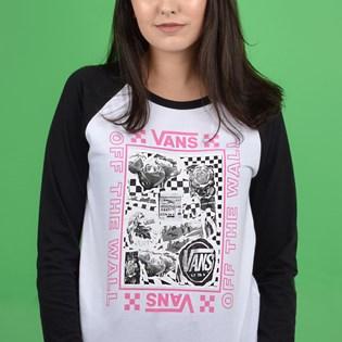 Camiseta Vans Feminina Manga Longa Lady Sting LS Raglan Diy White Black VN0A47Y5YB2
