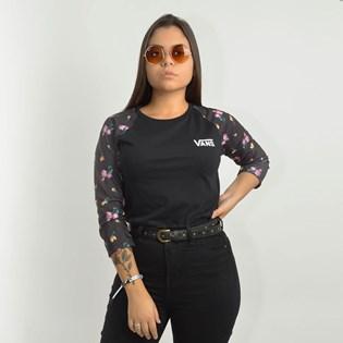 Camiseta Vans Feminina Reglan Satin Floral Black Satin VNB17A3UUVL