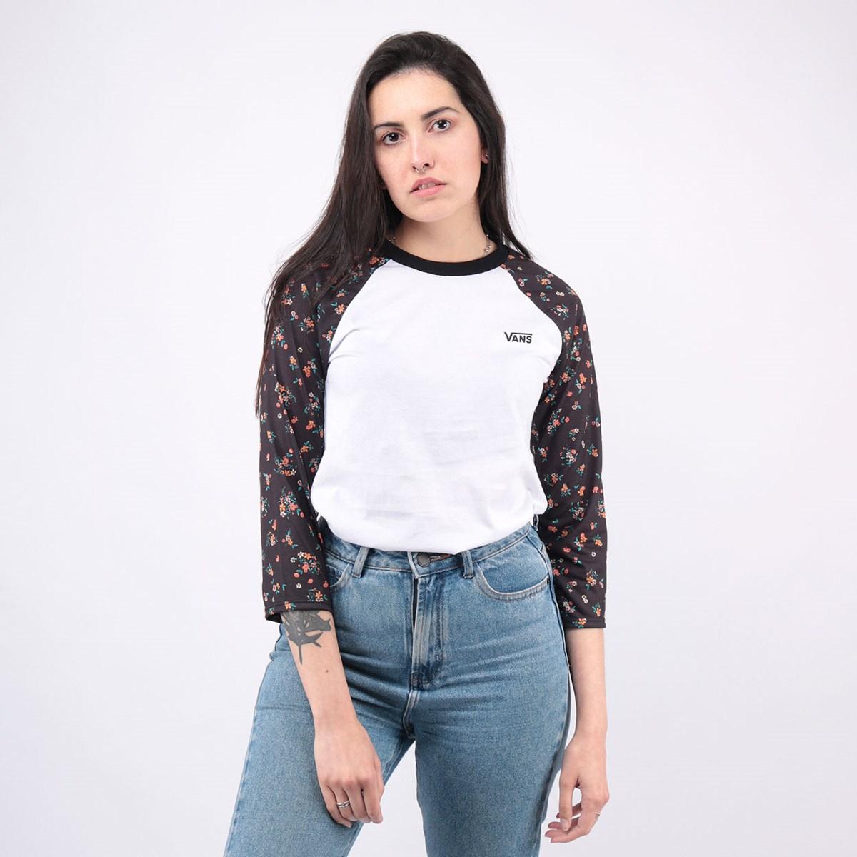 Camiseta Vans Feminina Tay Luh Raglan White Beauty Floral VN0A4N5LZKN