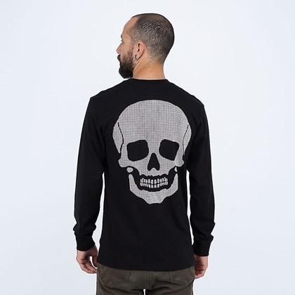 Camiseta Vans Manga Longa Anaheim Needlepoint Skull Black VN0A5FQCBLK