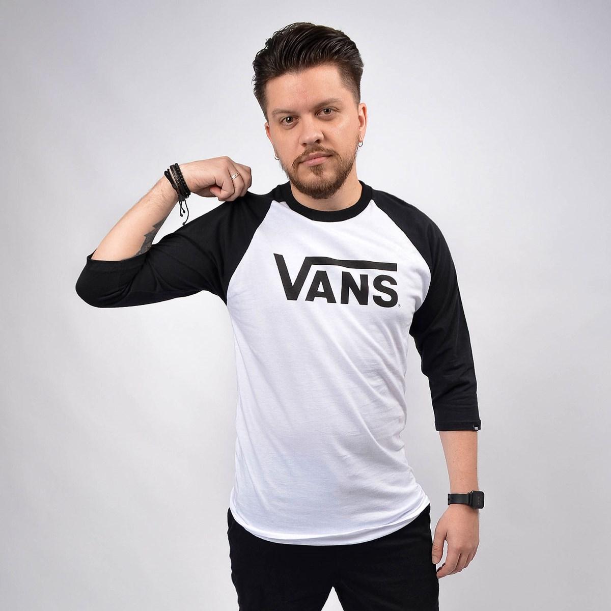Camiseta Vans Masculina Classic Raglan White Black VN0A4A59YB2 White Black