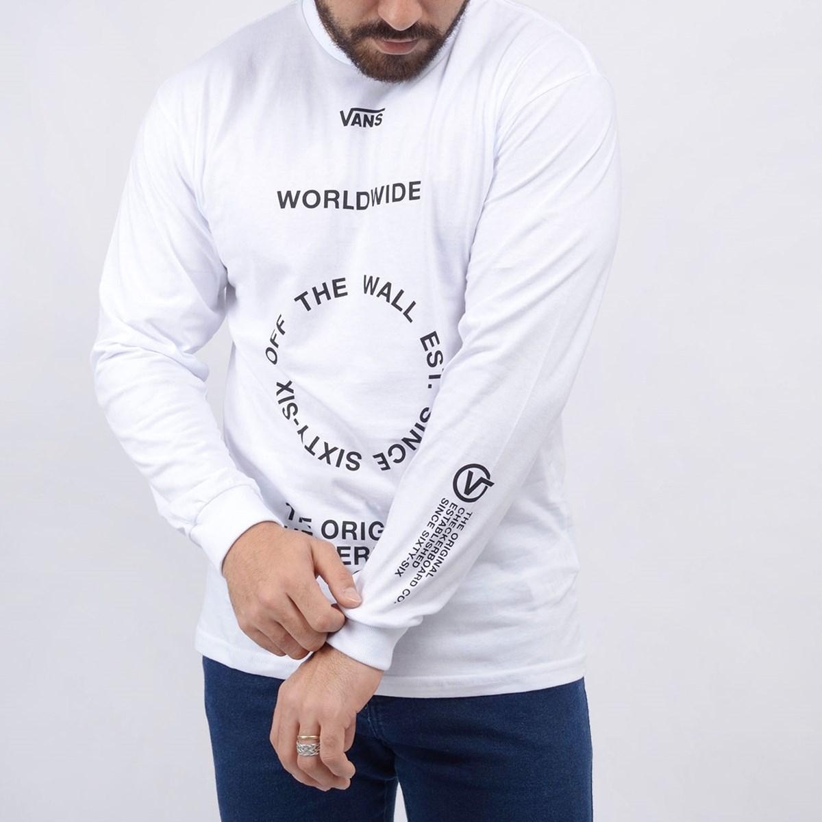 Camiseta Vans Masculina Distortion LS White VN0A49QLWHT