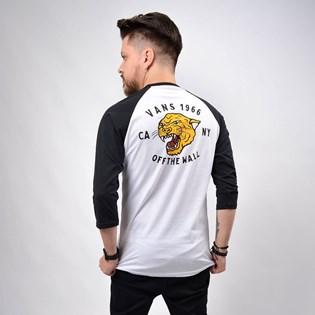 Camiseta Vans Masculina Growler Raglan White Black VN0A49QGYB2