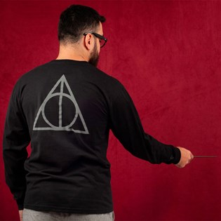 Camiseta Vans Masculina Harry Potter Deathly Hallows LS Black VN0A455GBLK