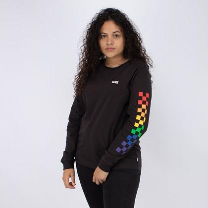 Camiseta Vans Pride Collection Check Long Sleeve Boyfriend Tee Manga Longa Black VN0A5EUBBLK