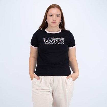 Camiseta Vans Rose Garden Black VN0A5I7NYYA