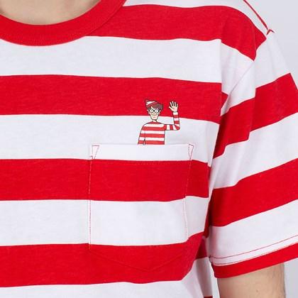 Camiseta Vans Wheres Waldo Stripe Pocket White Racing VN0A5FFXZ4Q
