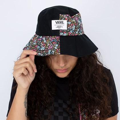 Chapéu Vans Liberty Fabrics Bucket Hat Black Tamanho P-M VN0A5FSIZE9