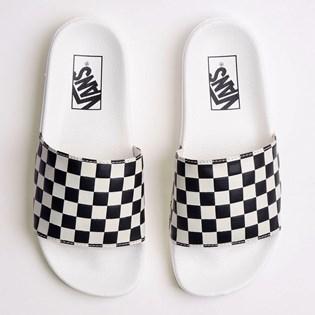Chinelo Vans Slide On Feminino Checkerboard White Black VNB004LG27K