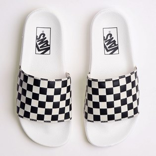 Chinelo Vans Slide On Feminino Checkerboard White Black VNB004LG27K
