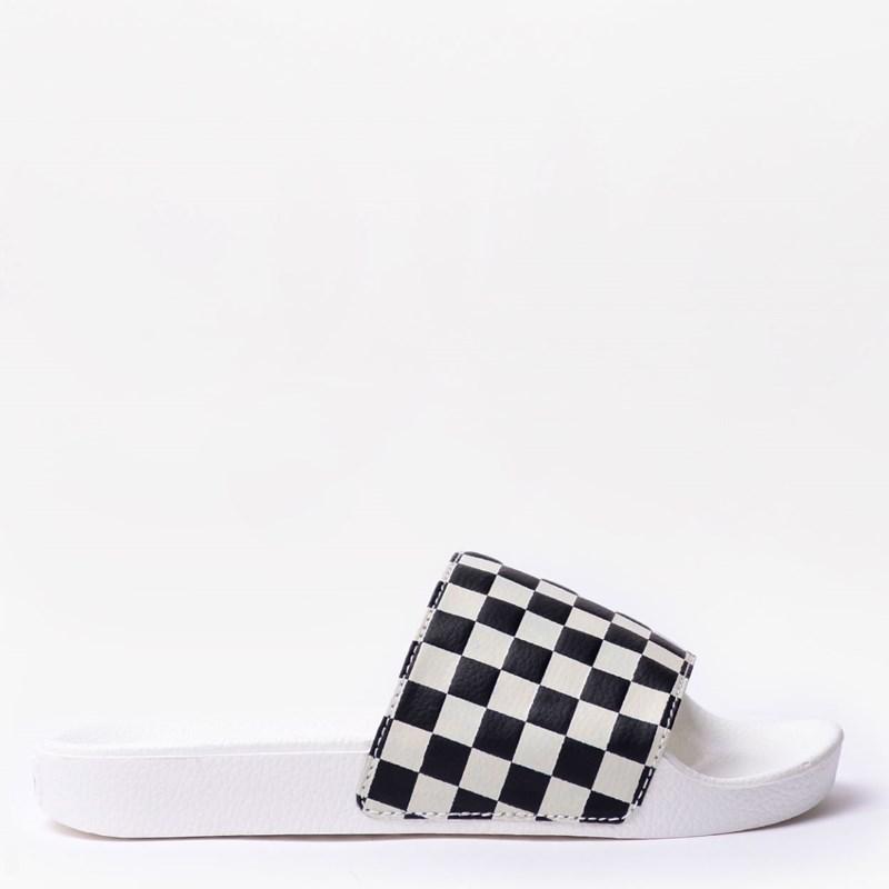 18ebf1e2e0d Chinelo Vans Slide On Feminino Checkerboard White Black VNB004LG27K ...
