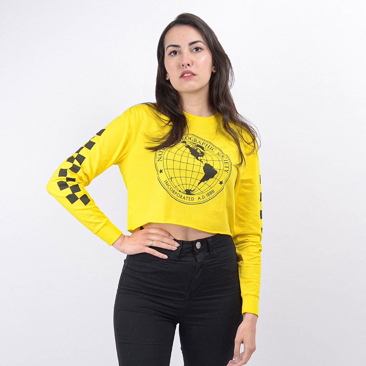Cropped Vans Feminino National Geographic LS Crop Cyber Yellow VN0A4RGESEJ