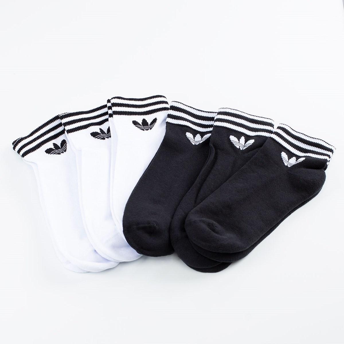 Meia adidas Cano Curto Trefoil Kit 6 Pares White Black GN3109