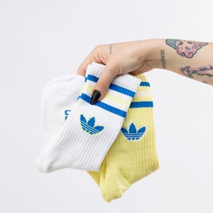 Meia adidas Crew Kit 2 Pares 34-36 Pulse Yellow White H32416