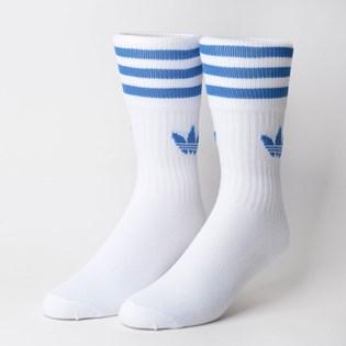 Meia Adidas Feminina Kit 3 Pares Solid Crew Sock Azul Preto Branco ED9396
