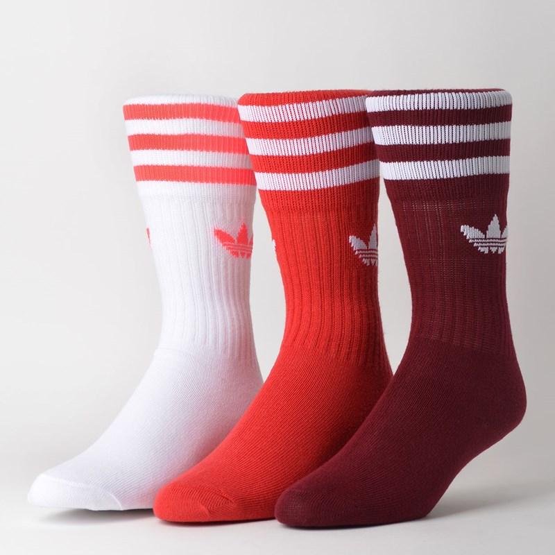 Meia Adidas Feminina Kit 3 Pares Solid Crew Sock Burgundy ED9360