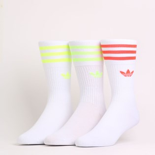 Meia Adidas Feminina Solid Crew Sock Kit 3 Pares White FM0625