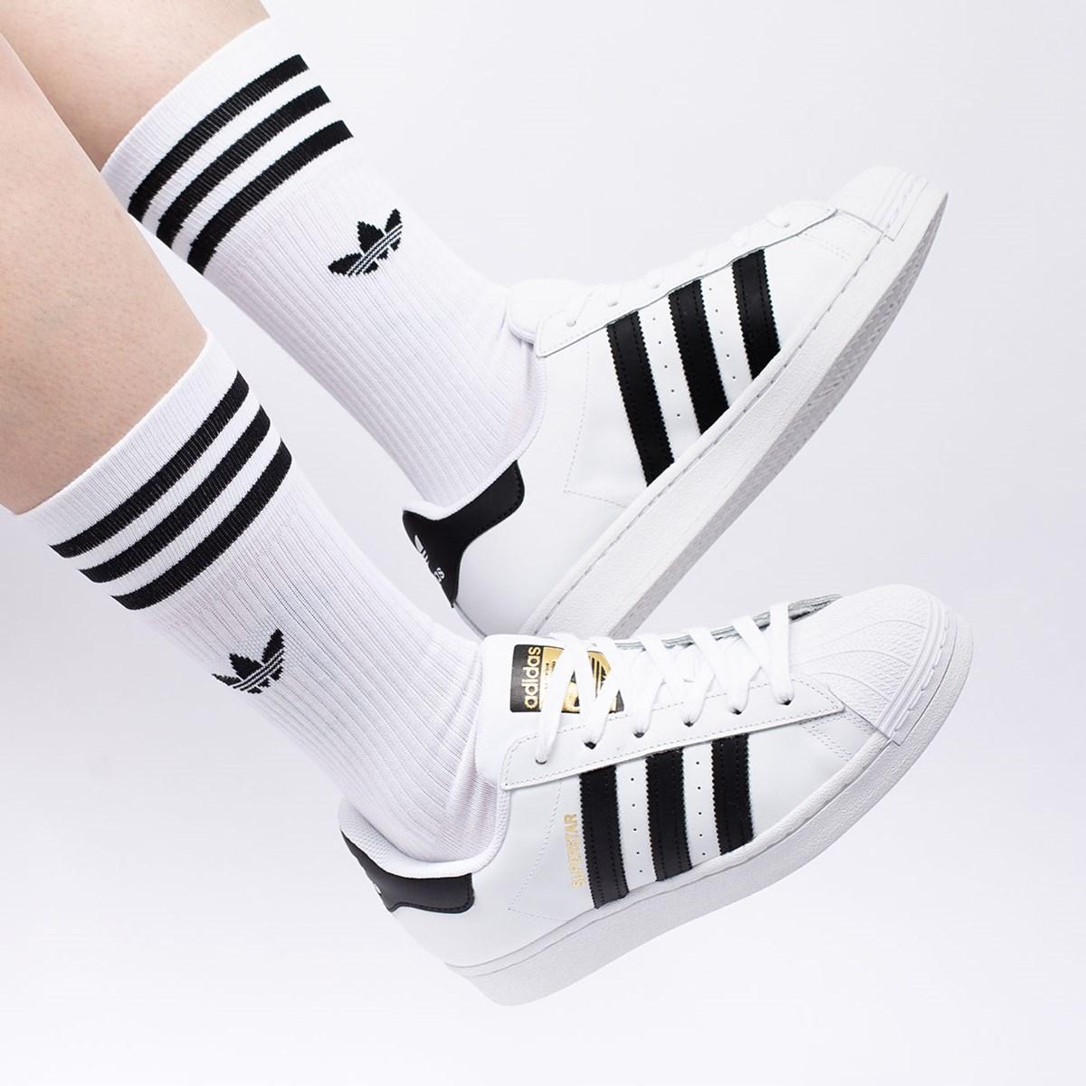 Meia Adidas Feminina Solid Crew Sock Kit 3 Pares White S21489