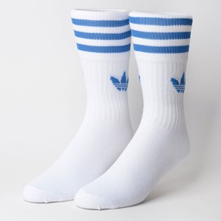 Meia Adidas Masculina Kit 3 Pares Solid Crew Sock Azul Preto Branco ED9396
