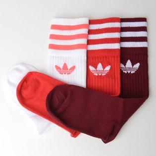 Meia Adidas Masculina  Kit 3 Pares Solid Crew Sock Burgundy ED9396