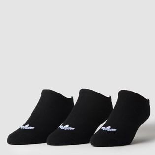 Meia Adidas Masculina Kit 3 Pares Trefoil Liner Black Black S20274