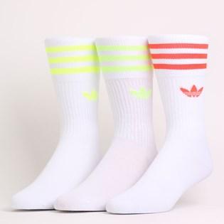 Meia Adidas Masculina Solid Crew Sock Kit 3 Pares White FM0625