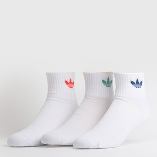 Meia Adidas Mid Ankle Sck Kit 3 Pares White FM0642
