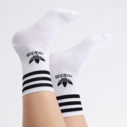 Meia adidas Mid Cut Crew Kit 3 Pares 35-37 White Black FZ9703