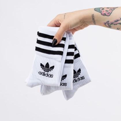 Meia adidas Mid Cut Crew Kit 3 Pares 41-43 White Black FZ9703
