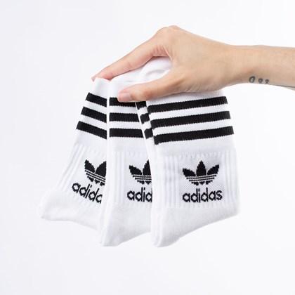 Meia adidas Mid Cut Crew Sock Kit 3 Pares 40-42 White Black GD3575