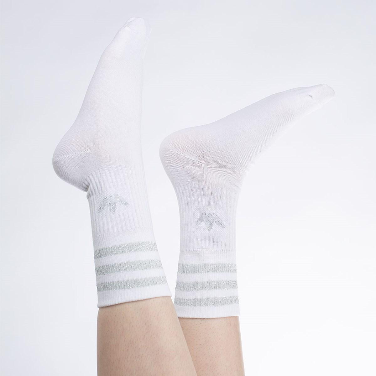 Meia adidas Mid Cut Glitter Kit 2 Pares White GN3069