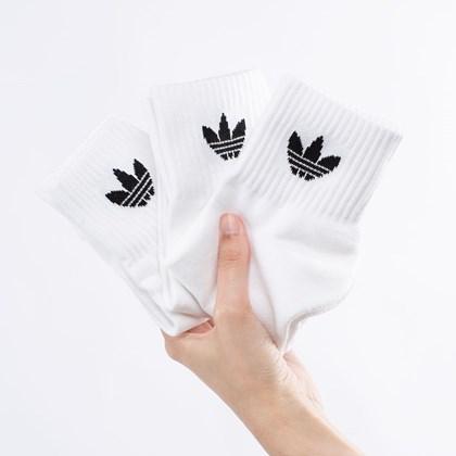 Meia adidas Mid-Cut Unissex Kit 3 Pares 43-45 White FT8529
