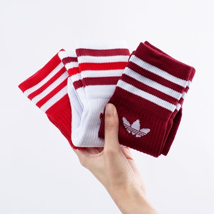 Meia adidas Solid Crew Unissex Kit 3 Pares White Collegiate Burgundy GN3073