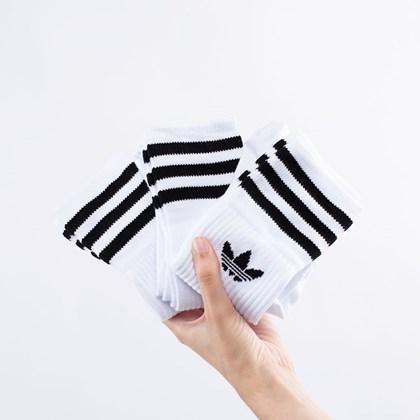 Meia adidas Solid Unissex Kit 3 Pares White EX3534