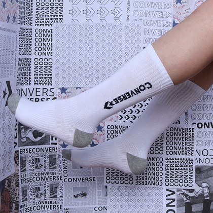 Meia Converse Core 3 Pack Crew Kit 3 pares White 10019519-A01