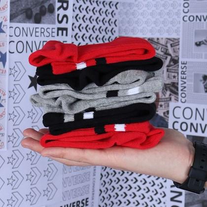 Meia Converse Seasonal Graphic 3 Pack Kit 3 pares Black 10019516-A02