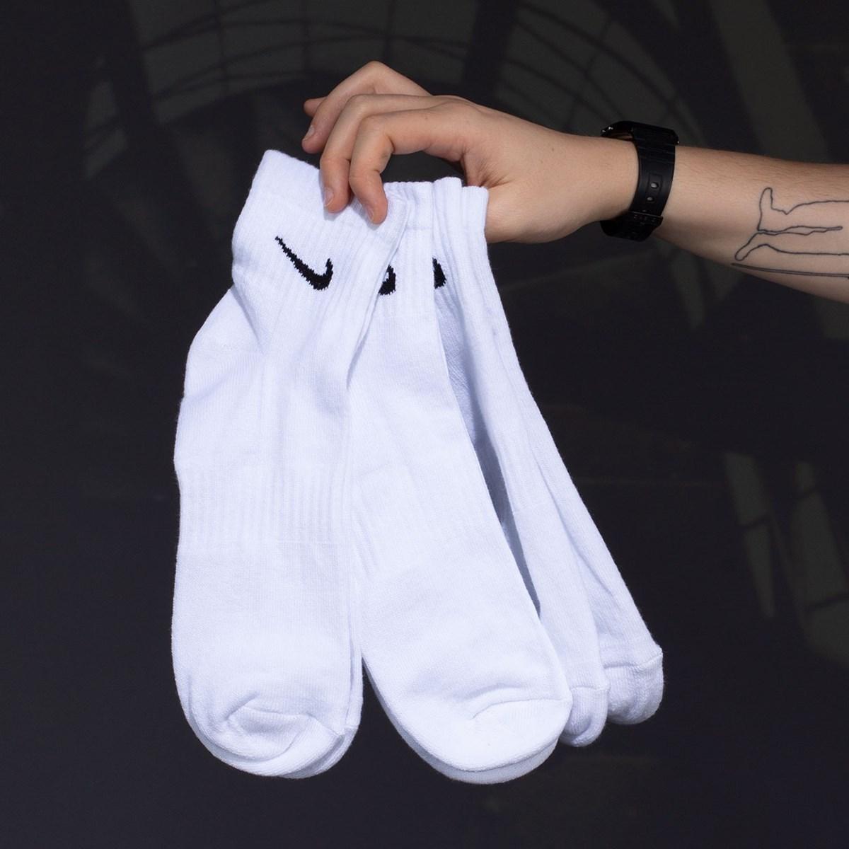 Meia Nike Masculina Everyday Cotton Cushioned Ankle Kit 3 Pares White SX7667-100