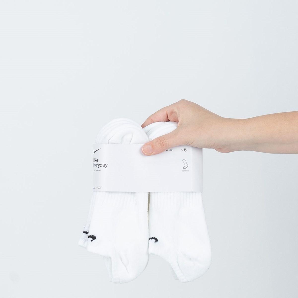 Meia Nike Unissex Everyday Cotton Cushioned No Show Kit 6 Pares White SX7675-100