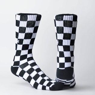 Meia Vans Checkerboard Feminina Crew II Black White Checkboard VN0A3H3OHU0