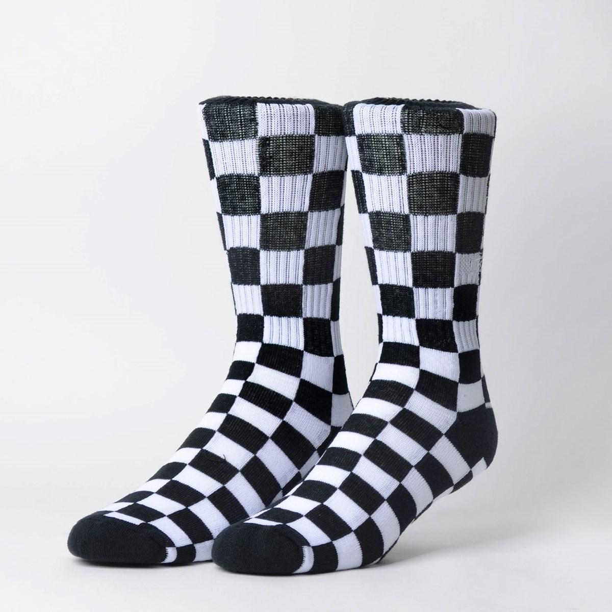 Meia Vans Feminina Checkerboard Crew II Black White Checkboard VN0A3H3OUH0
