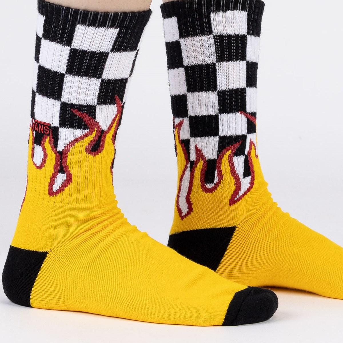 Meia Vans Flame Check Crew Black White VN0A4TQHZIA