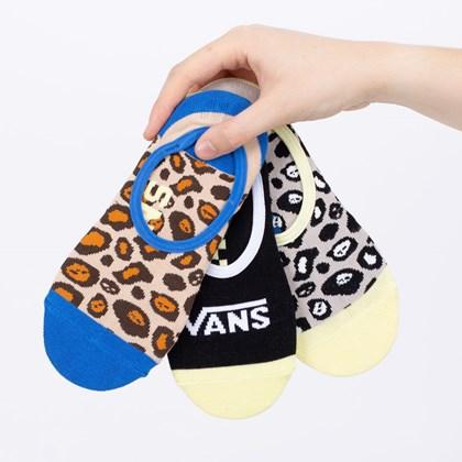 Meia Vans Leopard Skull Canoodless Kit 3 Pares Multi VN0A4S82448
