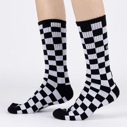 Meia Vans Masculina Checkerboard Crew II Black White Checkboard VN0A3H3OHU0