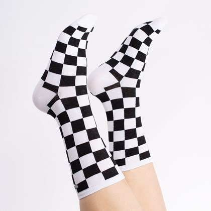 Meia Vans Ticker Sock Black Checkerboard VN0A49ZDBKC